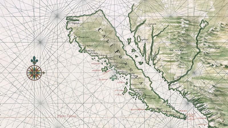 Atlanten als außergewöhnliches Buchgeschenk - Karte Kaliforniens als Insel